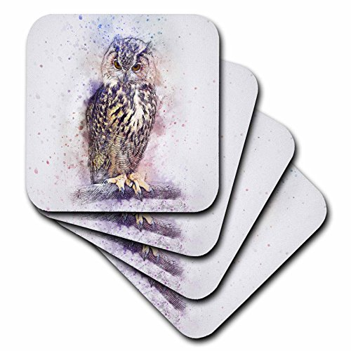 3dRose Sven Herkenrath Animal - Colorful Watercolor Background with Owl Bird Portrait - set of 4 Coasters - Soft (cst_280253_1) ()
