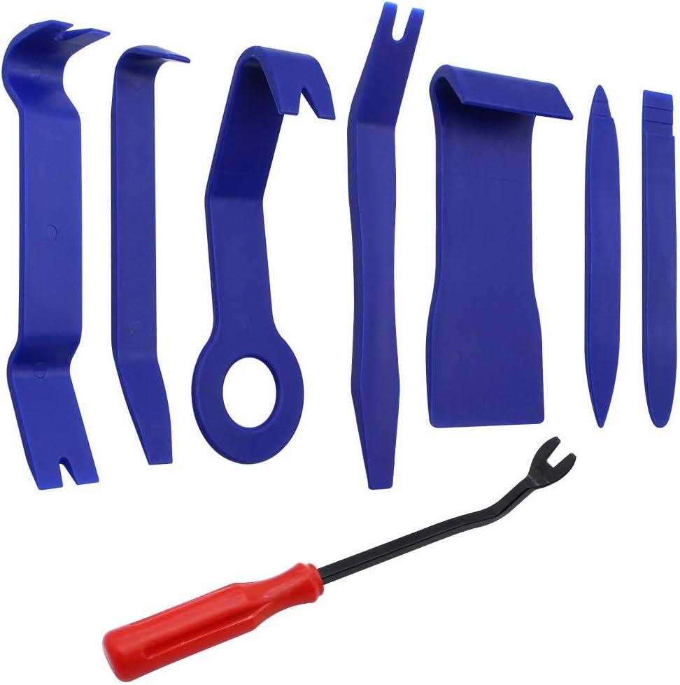 BlueXP 8 Piezas Coche Interior Herramienta de Eliminaci/ón Panel de Puerta de Coche Herramientas de Desmontaje para Desmontar el Salpicadero Radio Audio Coche Panel Frontal Interior Recubrimiento-Azul