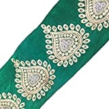 Green Royal Ribbon Indian Trim Heart Shape Design Sari Sewing Lace Traditional Border Craft 3 Yd