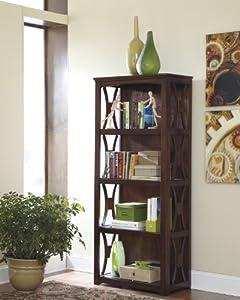 devrik contemporary design medium brown finish home office storage bookcase brown finish home office