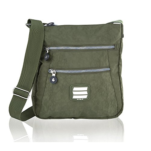 Shoulder 20103 Pocket Travel Everyday Handbag Khaki Crossbody Suvelle Go Anywhere Lightweight Multi Bag qPgU1zO