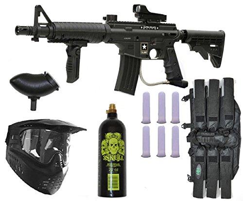 Tippmann US Army Alpha Elite Paintball Marker Gun 3Skull Package Set (Black) Black Army Paintball Marker