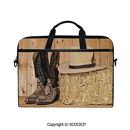 (Personalized Laptop Bag 14-15 Inch Messenger Bag Snake Skin Cowboy Boots Timber Planks in Barn with Hay Old West Austin Texas Shoulder Sleeve Case Tablet Briefcase)