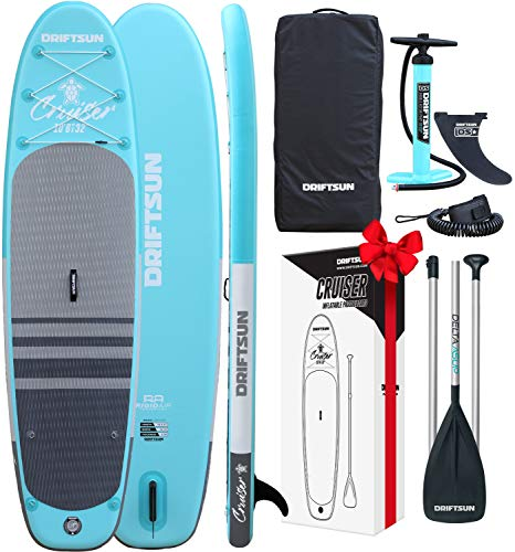 Driftsun Cruiser 10 Foot Inflatable Rigid Paddleboard Stand Up SUP Package with Travel Strap, Adjustable Paddle, Coil Leash, 10 Feet Long x 32 Inches Wide, Teal