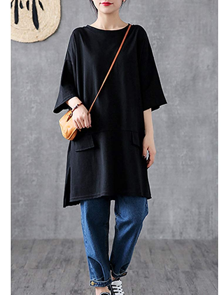 Mordenmiss Womens Long T-Shirt Blouse Side Split Half Sleeve Tunic Tops