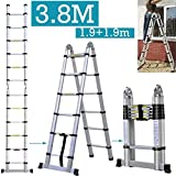3.8M Folding ladder A Frame Aluminum Telescopic Multi-purpose Extendable Foldable 1.9m + 1.9m Maximum Loading 150kg Strong & Safe & Portable for Home Loft Office, UK Stock