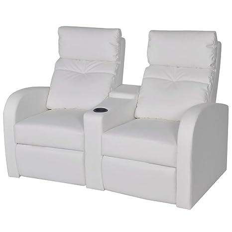 WEILANDEAL Sillon reclinable con 2 plazas de Cuero ...