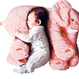 Missley Small Elephant Cushion Cute elephant pillow 100% cotton Novelty plush soft toy for decoration gifts for kids Size S (Pink)