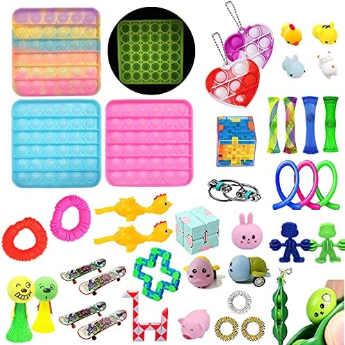 41Pack Fidget Toys Sensory Fidget Toys ,Set Fidget Toys ,Anti-Anxiety Tools and Special Toys, Fidget Toys Relieves Stress Squeeze Toy ,Classroom Rewards,Gifts for Birthday Party Favors (A) (A)