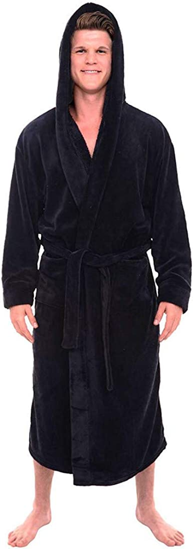 FUNEY Mens Fleece Robe Plush Collar Shawl Bathrobe Winter Warm Casual Home Clothes Long Sleeved Robe Coat