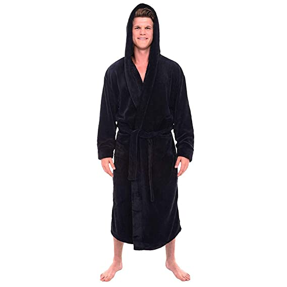 H.eternal Men s Bathrobe Hooded Full Length Nightwear Dressing Gown Wrap Fleece  Robe Luxury Sweatshirt c719e1c7e