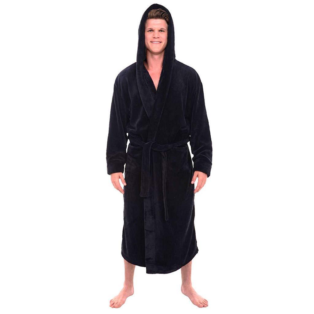 Byyong Mens Bathrobe with Hood Winter Plush Lengthened Shawl Bathrobe Home Clothes Long Sleeved Robe Coat