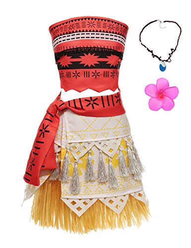 MUABABY Moana Adventure Natives Polynesian Princess Costume Dress Necklace for Kids (110) Red