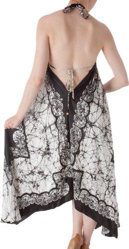 Sakkas 108 Veins Print Satin V-Neck Halter Handkerchief Hem Dress - White - One Size