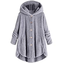 Womens Oversized Hooded Coats Warm Wool Plush Button Cardigan Sweaters Hoodies