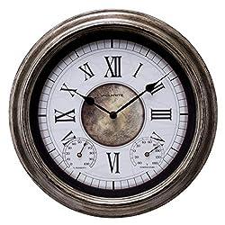 AcuRite 76049L 14 Inch Easy to Read Indoor/Outdoor Antique Silver Wall Clock