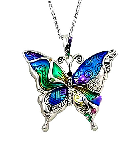 (DianaL Boutique Silvertone Colorful Butterfly Pendant Necklace 24