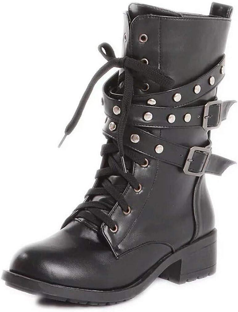 XBRMMM Mujeres Slouch Boots/Botas de Moto Moda Otoño e Invierno Lady Army Punk Goth Botines Mujer PU Mediados de Pantorrilla Botas