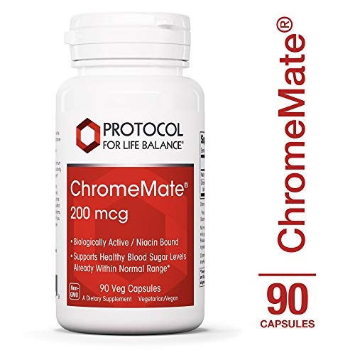 Protocol For Life Balance - ChromeMate® 200 mcg - Supports Healthy Blood Sugar & Cholesterol Levels, Help Maintain Healthy Body Weight, Supports Brain Health & Cognitive Function - 90 Capsules