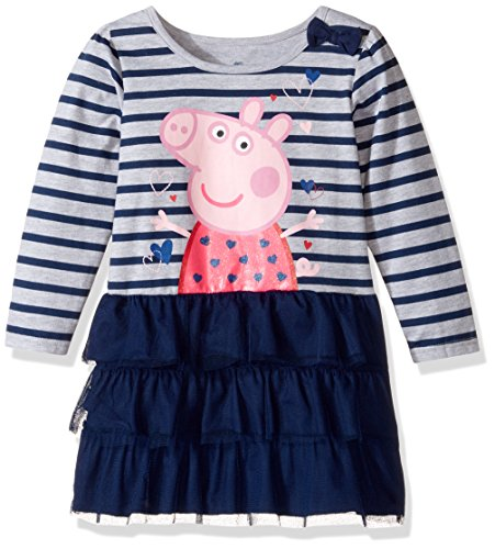 Peppa Pig Toddler Girls' Clothing Shop (Multiple Styles), Dress Grey/Blue, 4T Happy Threads