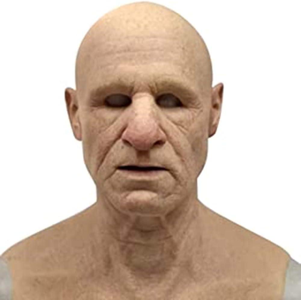 EIIUHIAHS The Elder Old Man Headgear,Realistic Latex Old Man Mask Male Disguise Halloween Fancy Dress Head,One Size A