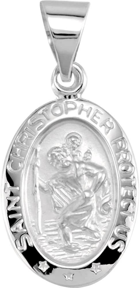 Christopher Hollow Medal 14K White Gold 15x11mm Oval St