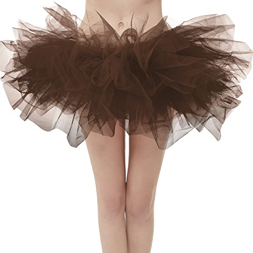 ntage 5 Layered Tulle Tutu Puffy Ballet Bubble Skirt Chocolate Regular Size (Chocolate Tutu)