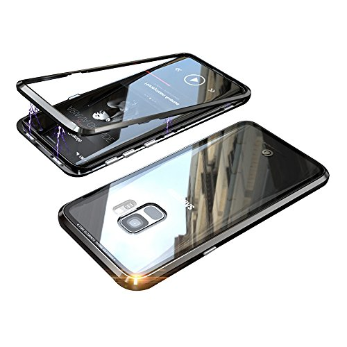 Transparent Metal - Magnetic Adsorption Case for Samsung S9 Case Luxury Shockproof Metal Bumper+Transparent Tempered Glass for Samsung Galaxy S9 Phone Cover Case Protective Case (Not Galaxy S9+/S9 Plus) (Black+Black)