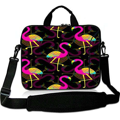 12 Inches Laptop Shoulder Bag Briefcase Colorful Flamingo Reflection Waterproof Neoprene Laptop Carrying Bag Sleeve for iPad/iPad Air/iPad Pro/iPad Mini/Macbook