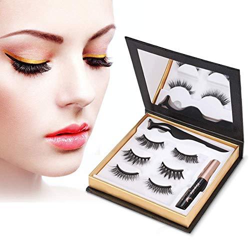 Poseca Magnetische Wimpern Eyeliner Set, 3 Paar Natürlich 3D Wiederverwendbar 5 Magnete Falsche Magnetic Eyelashes, Wasserdicht Magnetischer Eyeliner 5Ml, Ideal für Muttertag (Schwarz)