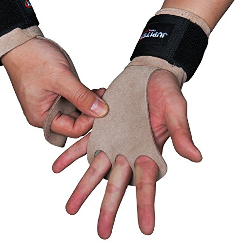 Leather Hand Grips with Wide Wrist Wraps-Perfect for Pull-up Training, Kettlebells and Barbell Training, Weightlifting.Leather and Velcro Wrist Support (Gray brown, - Jupiter Brown