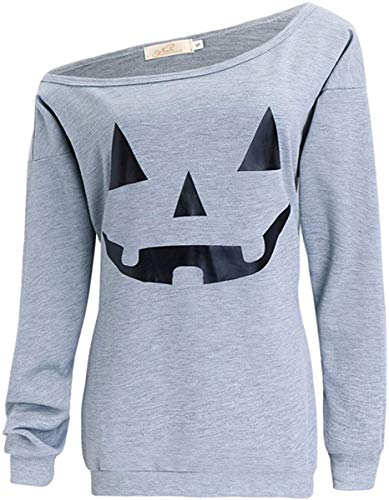 LYXIOF Women Halloween Pumpkin Sweatshirts Off Shoulder Sweatshirt Slouchy Shirts Light Grey
