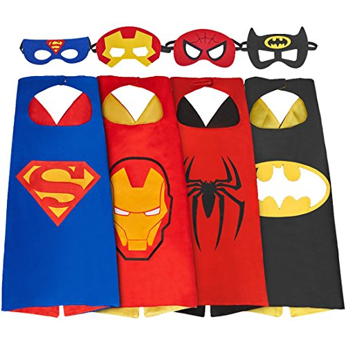 SPESS Cartoon Hero Costumes Toddlers Cape and Mask for Kids