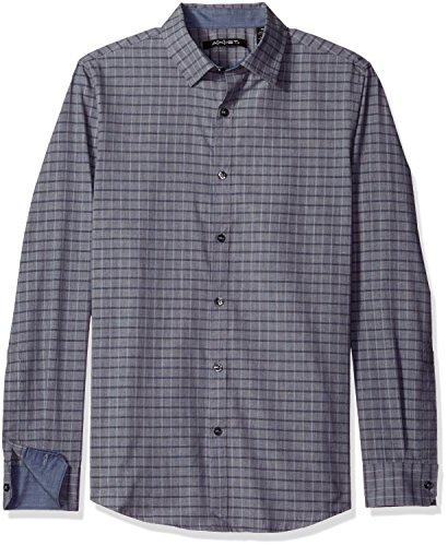 AXIST Men's Long Sleeve Tonal Plaid Shirt, Total Eclipse, X-Large ()