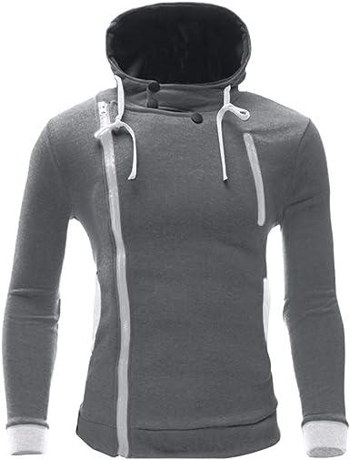 Moda cálida Casual Casual para Hombre y cómoda Camisa con Capucha de Color sólido con Cierre Diagonal Diagonal: Amazon.es: Ropa y accesorios