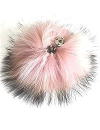 "15cm 6"" Peach Pink Color - Real Raccoon Fur Pom Pom w Snap Button"