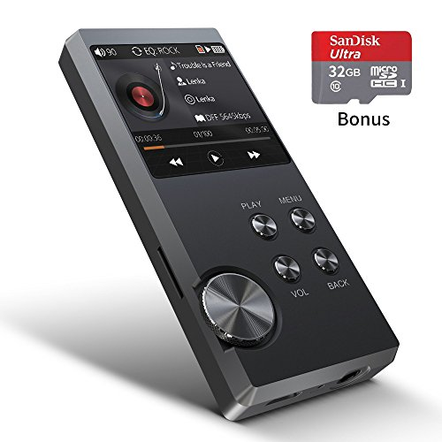 HiFi Music Player, Digital Audio Player Bassplay MP3 Lossless Player with 32GB SD Card (Expandable up to 128Gb Card)