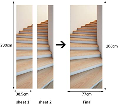 Exquisitos adhesivos en 3D para puertas de escaleras, vinilos decorativos renovados, nuevos adhesivos para decorar puertas, pintura al óleo para adultos, 2 piezas, 38,5 * 200 cm: Amazon.es: Bricolaje y herramientas