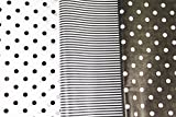 Black and White Tissue Paper for Gifts. 36-Pack includes 24 Polka Dot plus 12 Striped Premium Quality, Large 20 x 30 Squares. Black & White