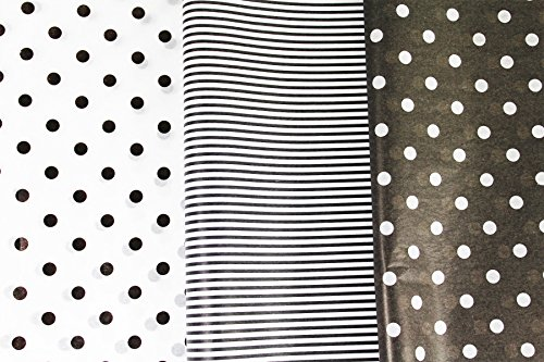 Black and White Tissue Paper for Gifts. 36-Pack includes 24 Polka Dot plus 12 Striped Premium Quality, Large 20 x 30 Squares. Black & White by Saybrook Products