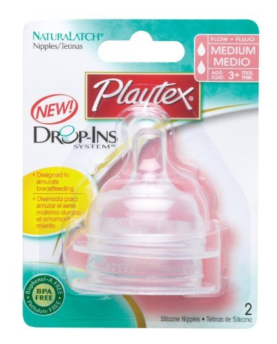 Playtex NaturaLatch Silicone Nipple, Medium Flow - 2 Pack