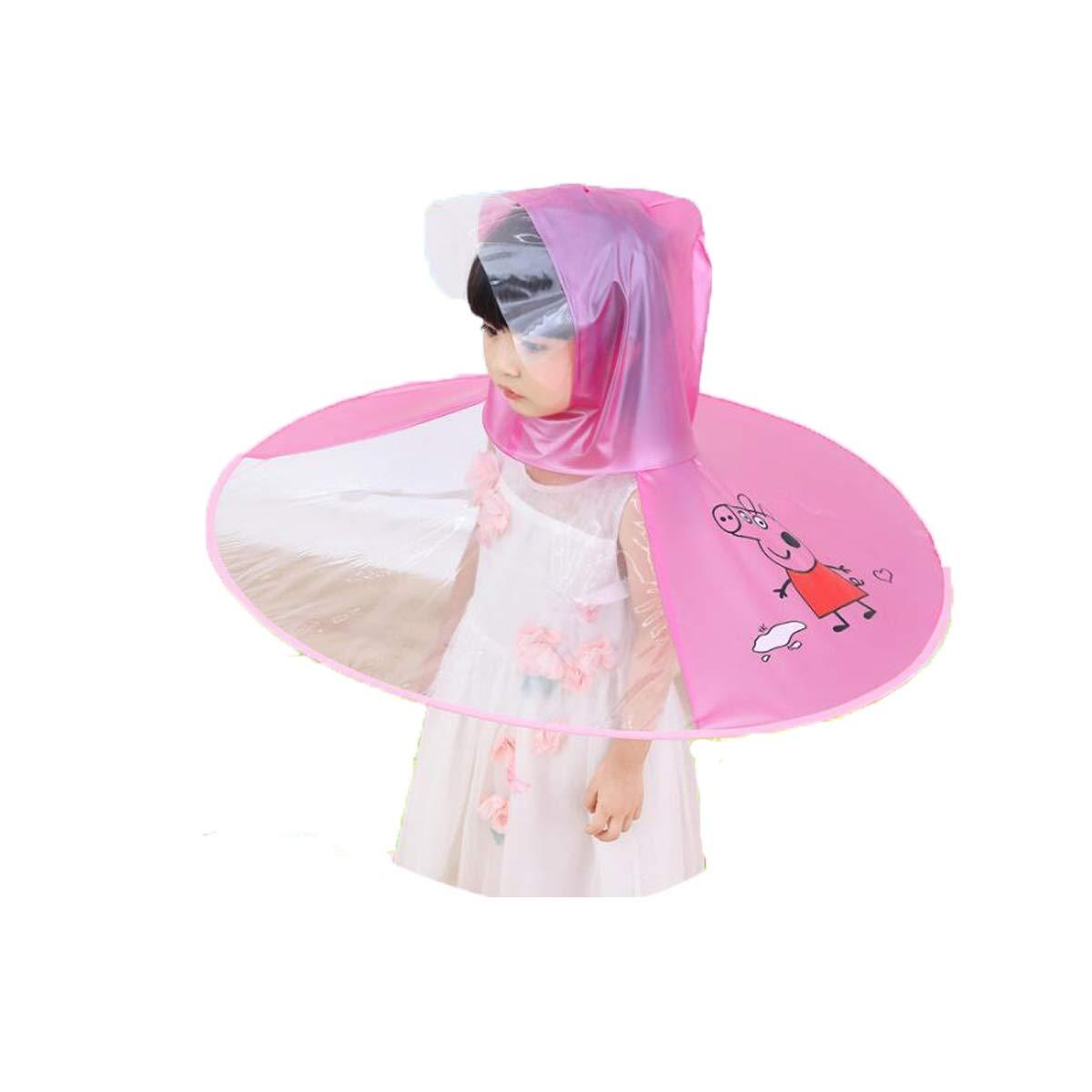 TONGBOSHI Little Yellow Duck Raincoat, Flying Saucer Raincoat, Folding Piglet Net Red Boy Girl Cloak, Net Red Raincoat, Blue Piglet, Suitable for Height 80-130cm (Color : Pink)