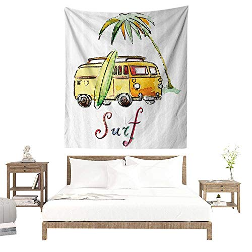 alisoso Bedding Tapestry,Surfboard Decor Collection,Hand Drawn Surfing Car Summertime Seaside Traveling Vehicle Palm Tree Vacation Road Imag W57 x L74 inch Home Decor Bedroom Living Room