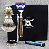 Premium Vintage Style Men's Shaving Set Top Grade Silver Tip Badger Hair Brush, Gillette Fusion & Dual Stand.