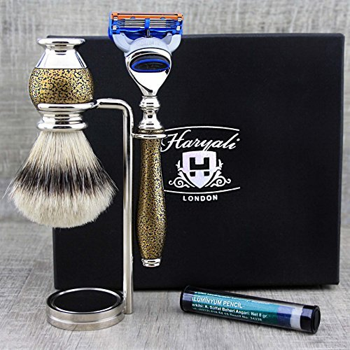 Premium Vintage Style Men's Shaving Set Top Grade Silver Tip Badger Hair Brush, Gillette Fusion & Dual Stand. by Haryali London