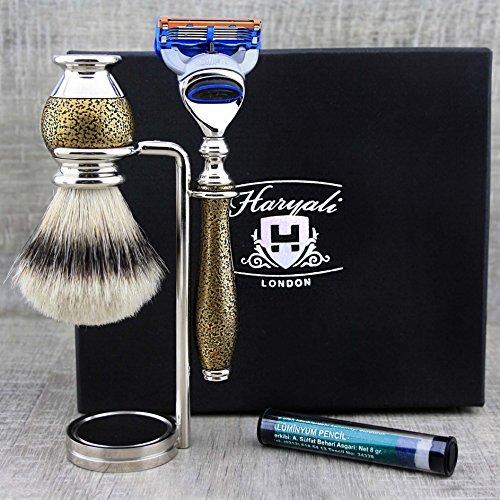- Premium Vintage Style Men's Shaving Set Top Grade Silver Tip Badger Hair Brush, Gillette Fusion & Dual Stand.
