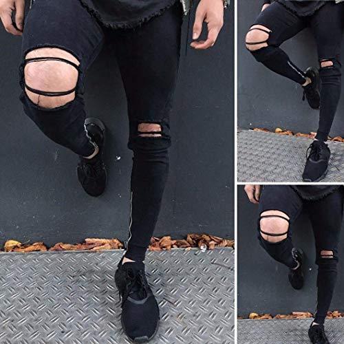 Hombres Pantalones Ajustados Cómodo Negros Battercake Para Agujeros Con Negro Vaqueros Veraniegos Jeans Chern Destruidos V q8dBEw