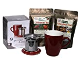 Porcelain Infuser Mug with Coaster Lid and Herbal Tea Gift Set – Bundle includes Christmas Tea and Chocolate Chai