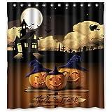 Cool Black Happy Halloween Moon Pumpkin Castle Waterproof Bathroom Fabric Shower Curtain Bathroom Decor 66 X 72