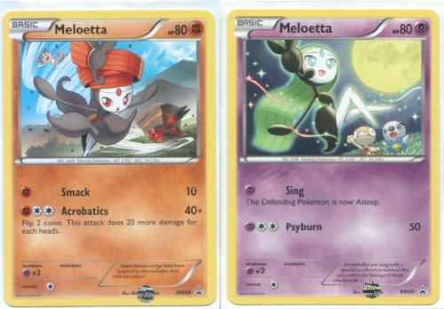 Pokemon Meloetta (Pirouette and Aria Forme) - Rare/Promo Card Set (Black & White #BW68 and #BW69)